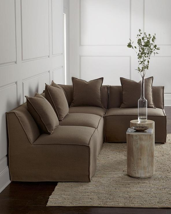 Massoud Carson Armless Taupe Sectional So