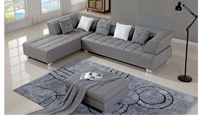 Star Grey Leather Sectional S