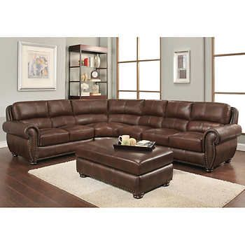 Austin Top Grain Leather Sectional With Ottoman |  Läder.
