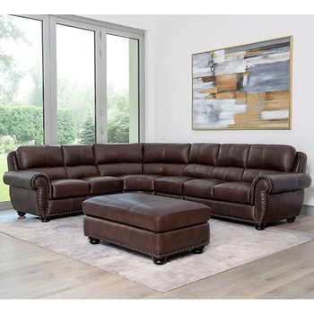 Austin Top Grain Leather Sectional With Ottom