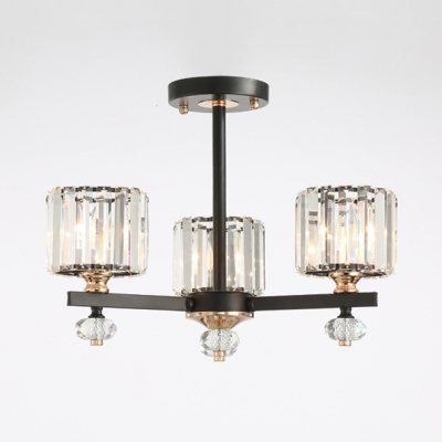 Clear Crystal Cylinder Pendant Lamp 3/6/8 Lights Contemporary.