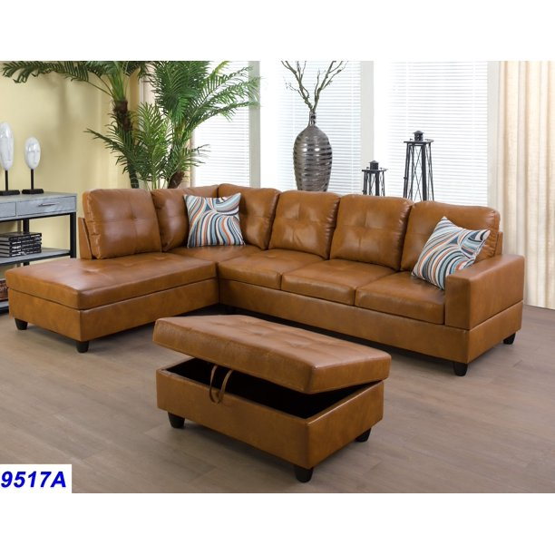 Wellington Ginger Faux Leather Sectional Sofa with Ottoman.