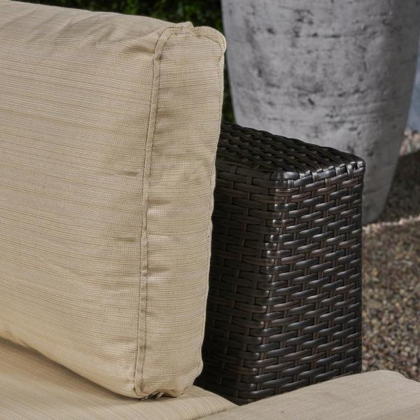 Noble House Nolan Multi-brown 8-Piece Wicker Outdoor Sectional.