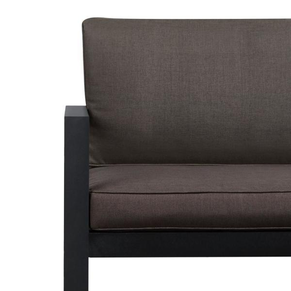Real Flame Baltic Black Powder Coated Aluminium Outdoor Loveseat.