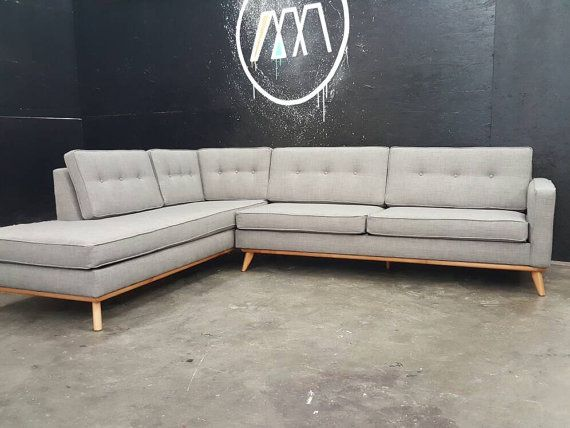 Mid Century Modern Sectional Chaise Sofa specialbyggd |  Mitten .