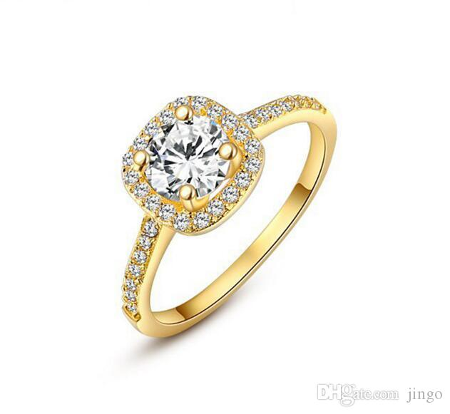 DHL Womens 18K Rose White Gold Plated CZ Crystal Engagement Rings.