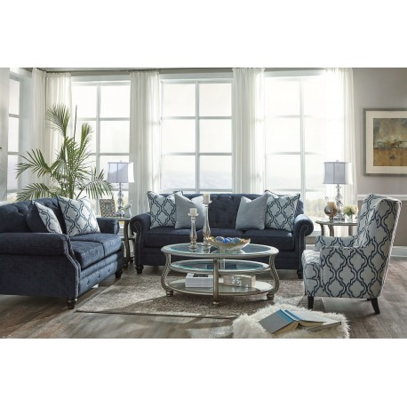 LaVernia - Navy - Soffa, Loveseat, Accent Chair, Coralayne Cocktail.