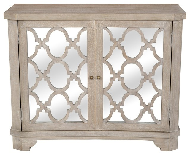 Lattice Whitewash 2 Door Mirrored Wood Small Sideboard.