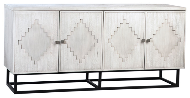 Clancy White Wash and Iron Wood Sideboard - Farmhouse - Buffets.