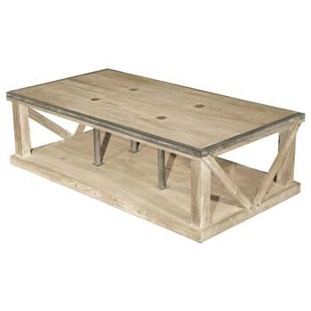 Forte French Country White Wash Reclaimed Pine Iron Coffee Table.