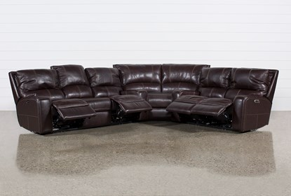 Clyde Dark Brown 3 Piece Power Reclining Sectional W / Pwr Hdt & Usb.