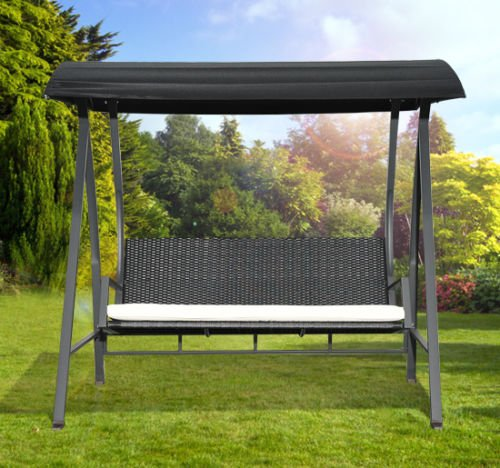 Outsunny 3-sits Garden Rotting Swing Wing Hammock Chair-Black.