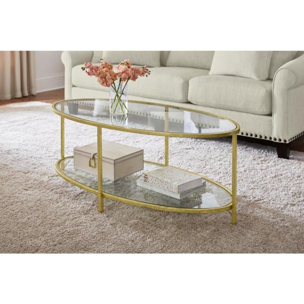 Home Decorators Collection Bella Oval Gold Leaf Metal och Glass.