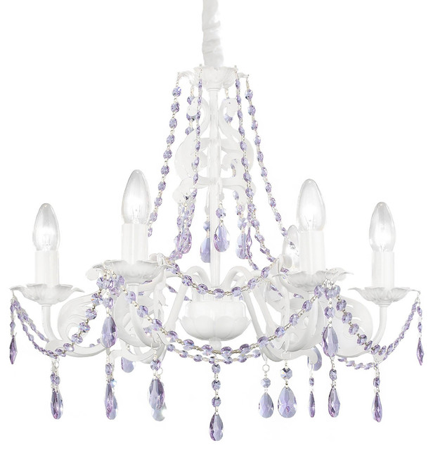 Ashley Chandelier Purple Crystals, 6-Lights - Traditional - Kids.