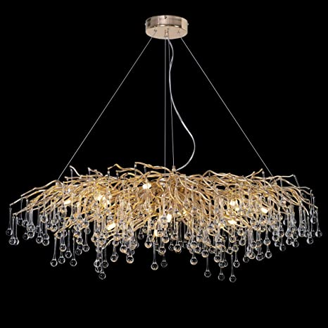 ANTILISHA Modern Crystal Chandelier Rectangle Gold Branch Forest.
