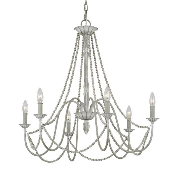 Feiss Maryville 6-Light Washed Grey Chandelier F3240 / 6WGR - The.