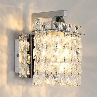 House Rectangle Sconce Light Clear Crystal Antique Style Chrome.