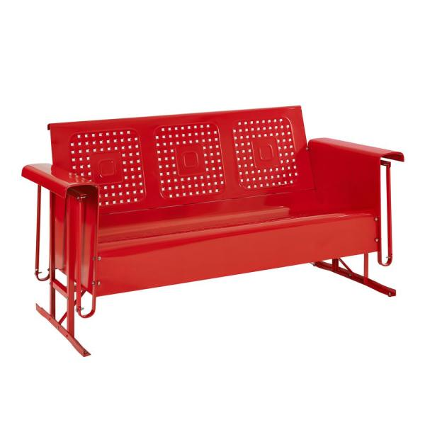 CROSLEY Bates 3-Person Red Metal Outdoor Glider CO1023-RE - The.