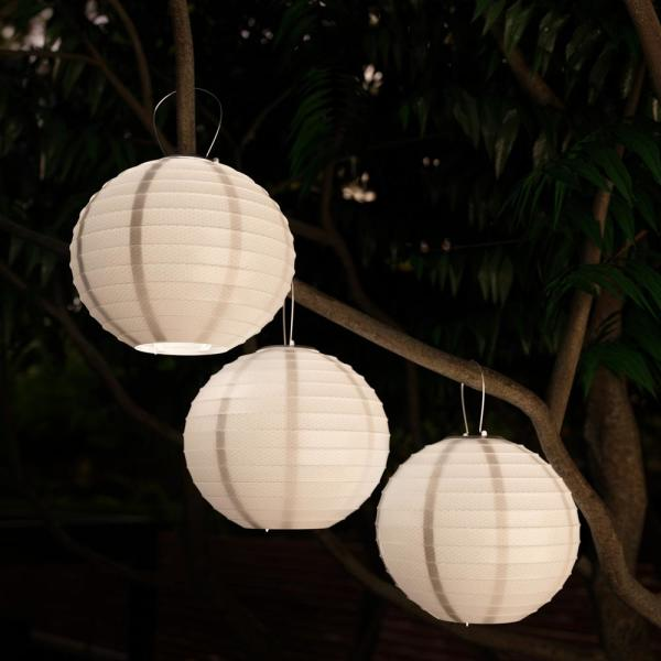 Pure Garden White Integrated LED Hanging Solar Chinese Lanterns (3.