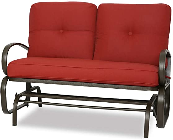 Amazon.com: Patio Swing Glider Bench Outdoor Cushioed 2 Person.