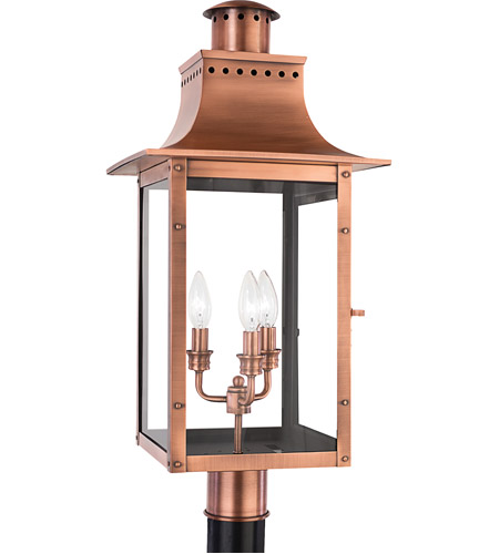 Quoizel CM9012AC Chalmers 3 Light 26 inch Aged Copper Outdoor Post.