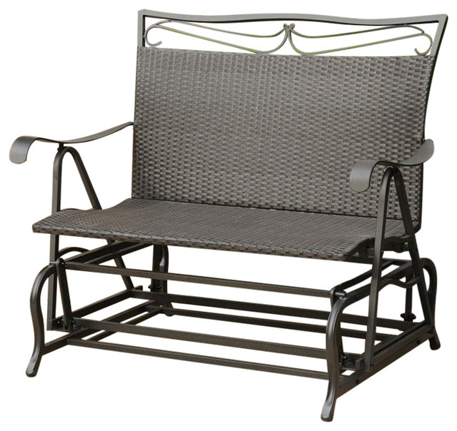 Pemberly Row Patio Glider Loveseat i Antique Black - Tropical.