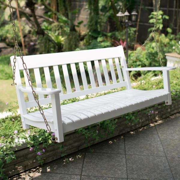 Cambridge Casual Thames White Wood Porch Swing HD-130228-WH - The.