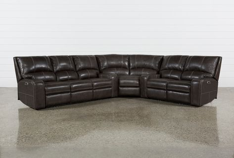 Clyde Grey Leather 3 Piece Power Reclining Sectional W / Pwr Hdrst.
