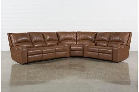 Clyde Saddle 3-delad Power Reclining Sectional W / Power Hdrst & Usb.