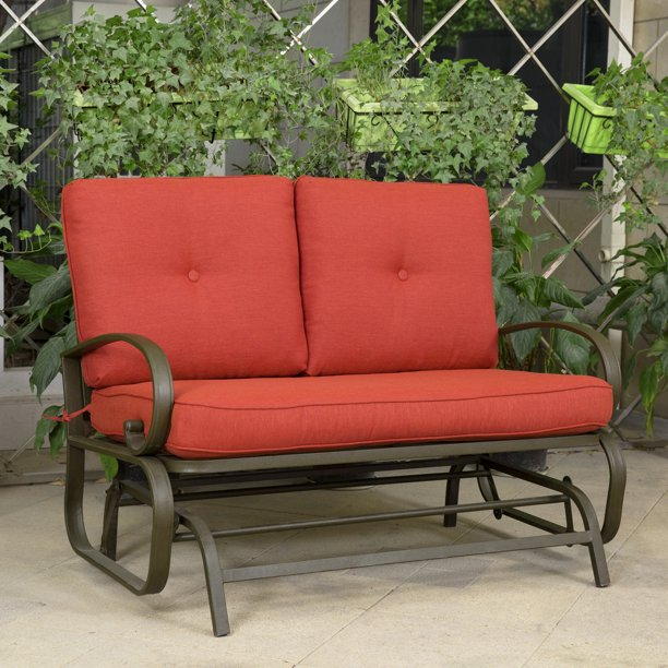 Cloud Mountain Patio Glider Bench Outdoor Cushioed 2 Person Swing.