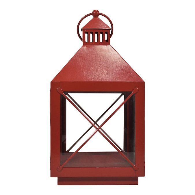 allen + roth 8-in x 14.4-in Red Powder Coated Metal Pillar Candle.
