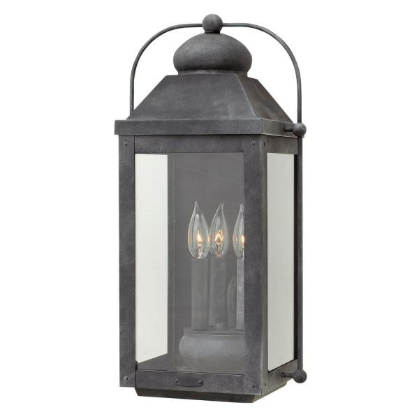 Hinkley Lighting Anchorage Large 3-Light Aged Zink Outdoor Wall.