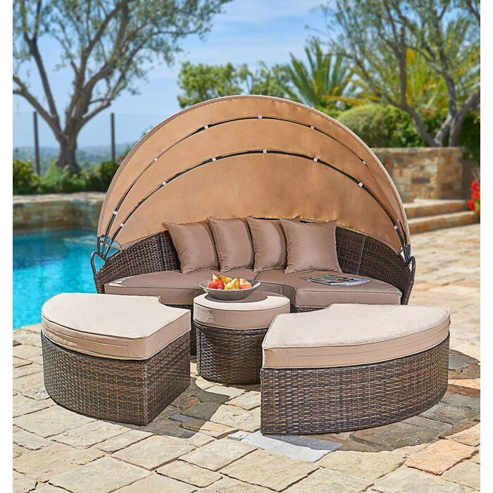 Behling Canopy Patio Daybeds With Kuddar